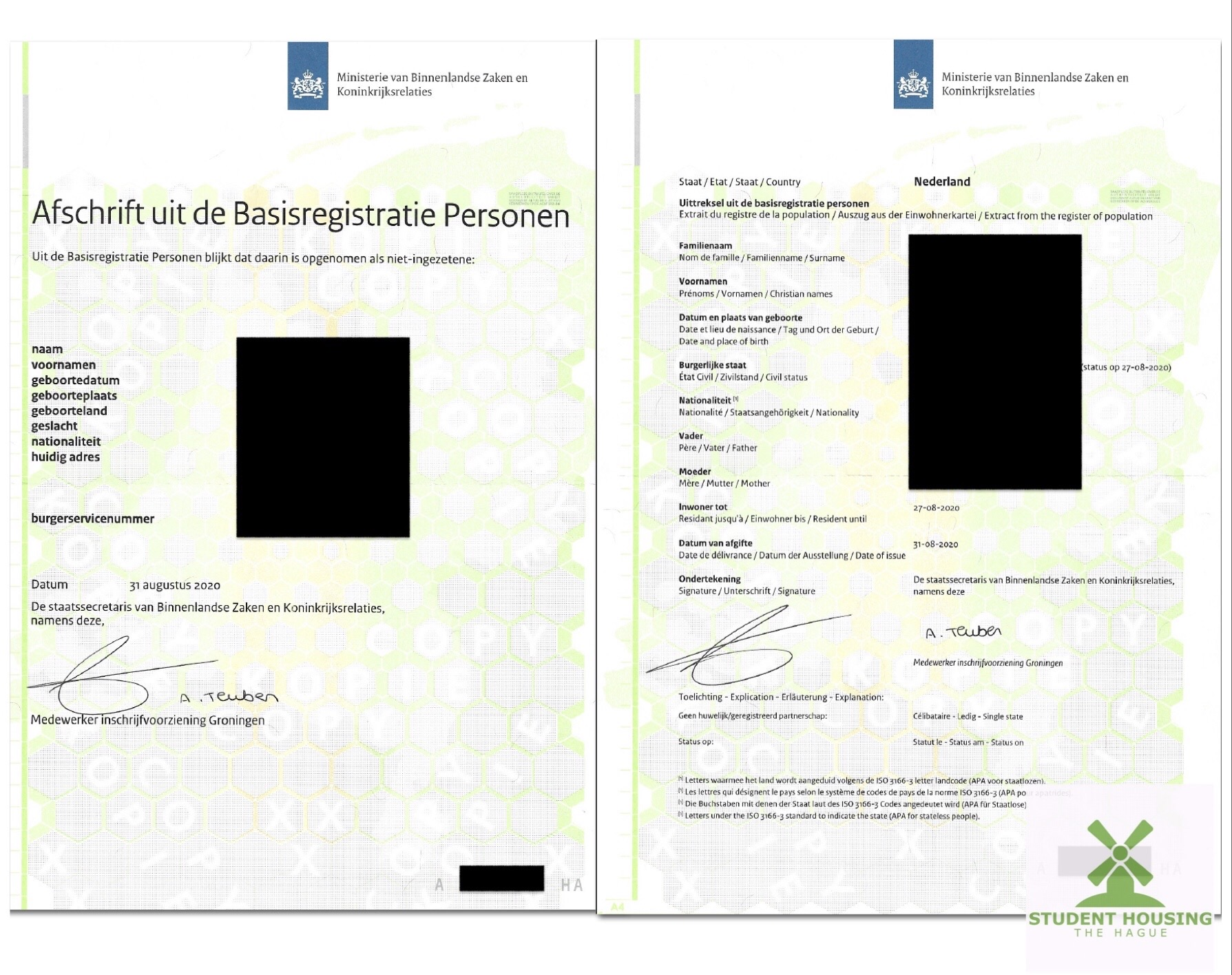 Example of proof of deregistration.